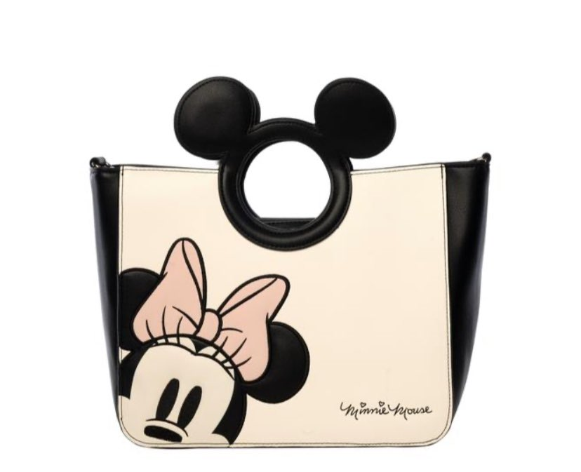 LOUNGEFLY X MINNIE WITH DIE-CUT MICKEY HANDLE TOTE BAG