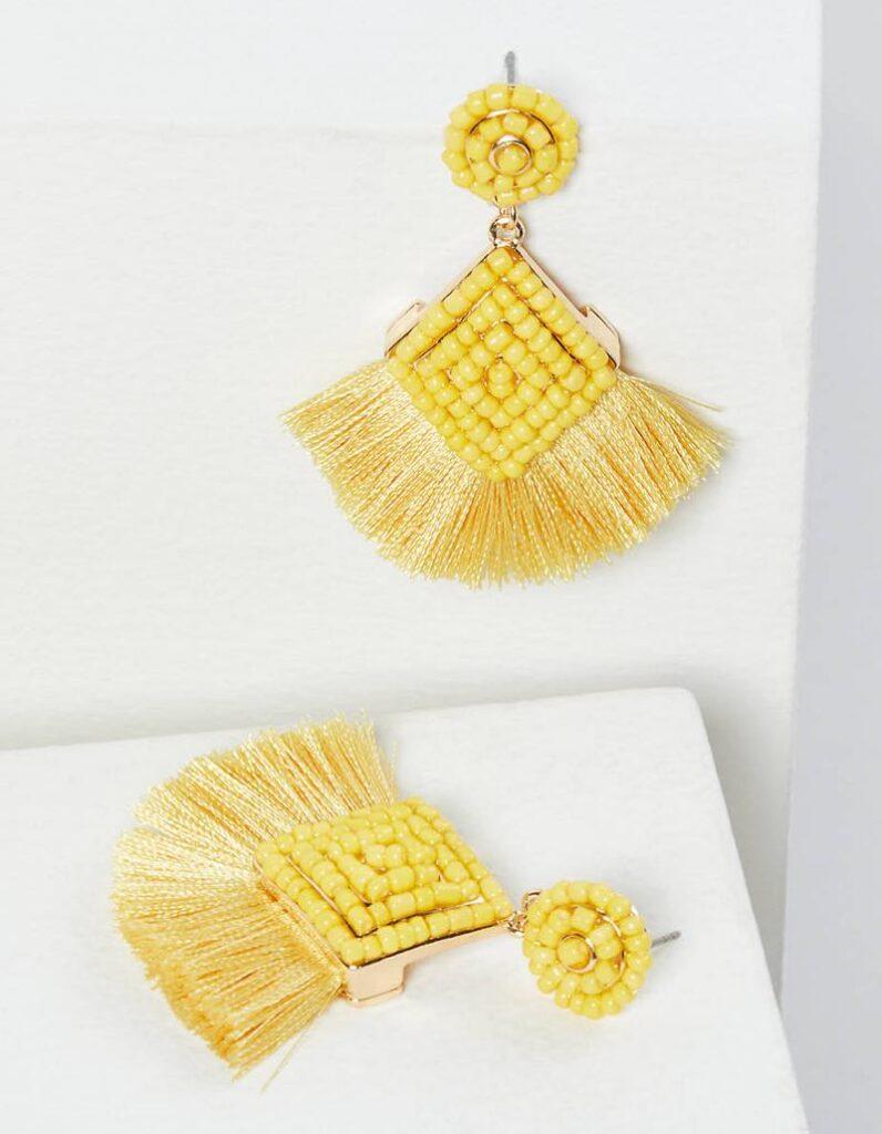 yellow bridge fringe drop earrings