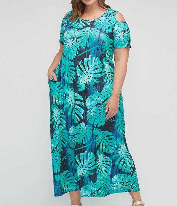 Foliage Winthrop Forest Open-Shoulder Dress