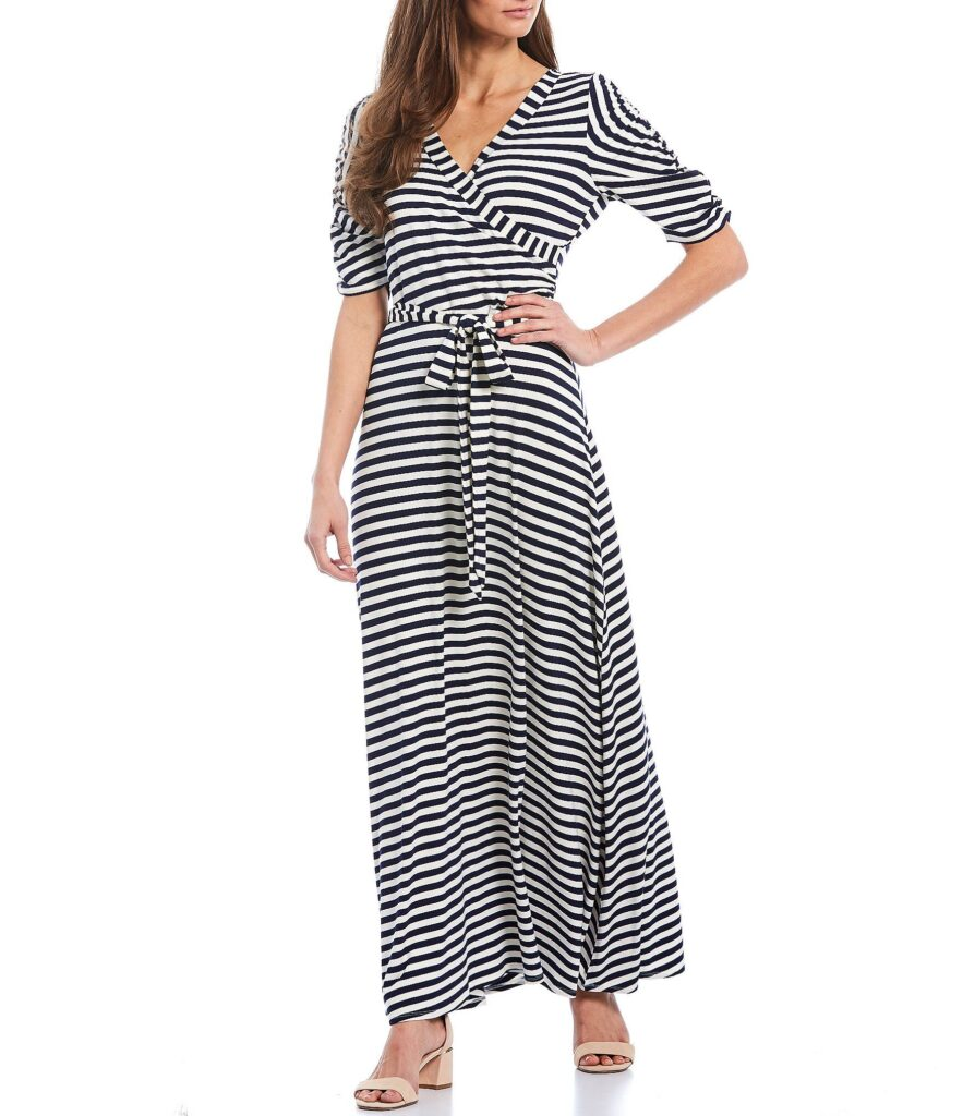 Gibson Latimer Stripe Stretch Knit Jersey Wrap Maxi Dress