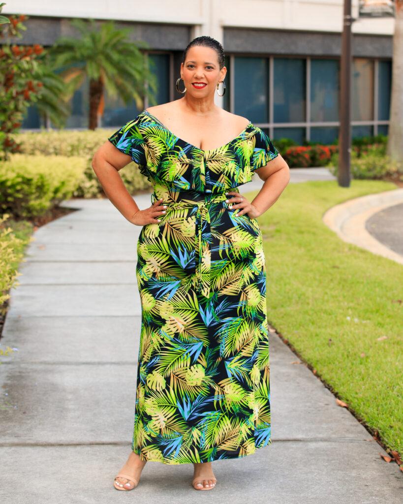 Palm Print Off The Shoulder Maxi Dress