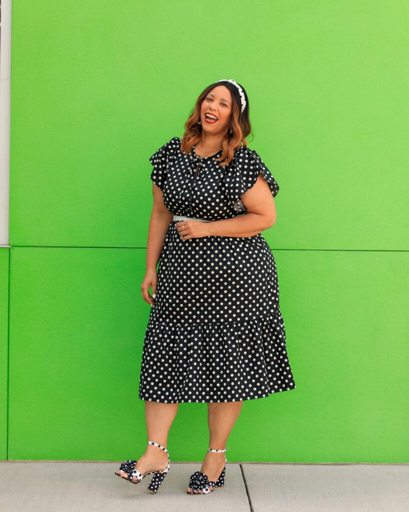 Black & White Polka dots Bell Short Sleeves Dress