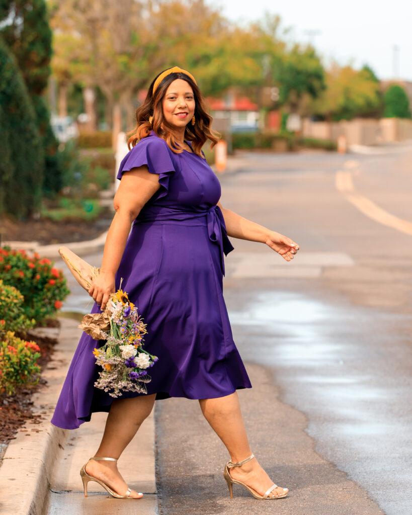 Tampa Influencer Farrah Estrella wearing a purple dress