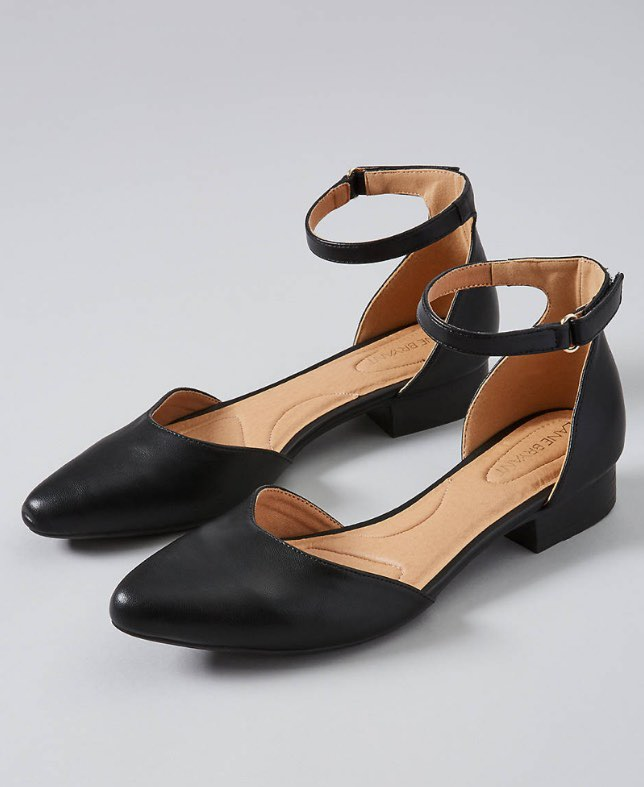 black ankle strap flats