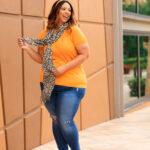 Cheetah Print Scarf & Vintage Jeans