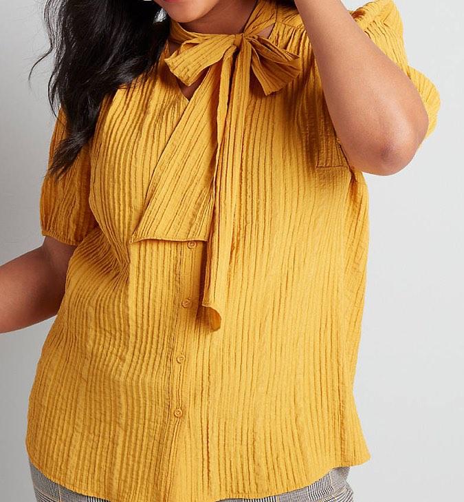 tie neck yellow blouse