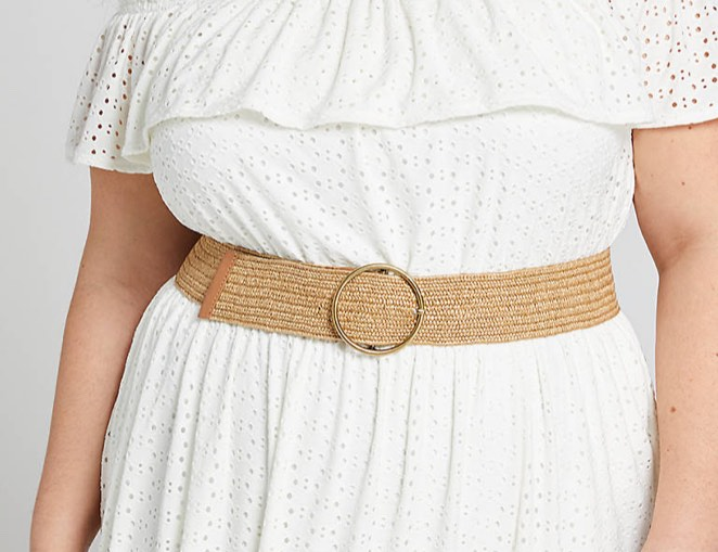 Wide Woven Stretch Belt