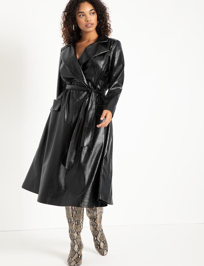 Black Crocodile Trench Dress