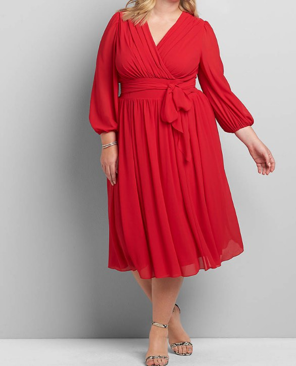 Red 3/4 sleeve midi dress
