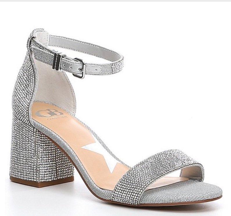 Bling-Out Rhinestone Embellished Block Heel Sandals