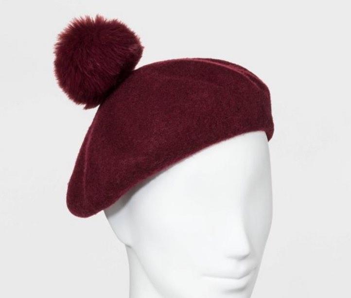 Women's Faux Fur Pom Felt Beret Hat