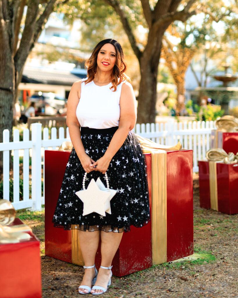 tampa blogger farrah estrella wearing a star print tulle skirt