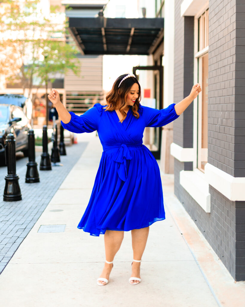 Cobalt Blue Faux-Wrap Midi Dress