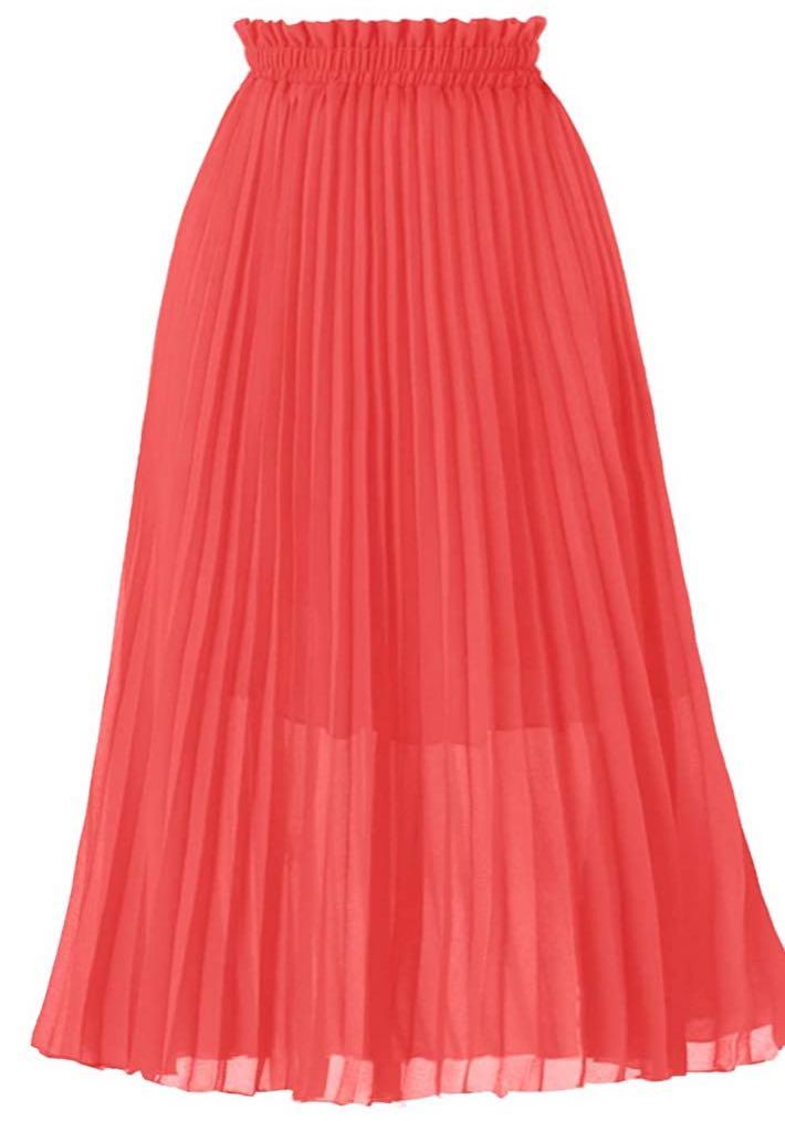 coral midi skirt