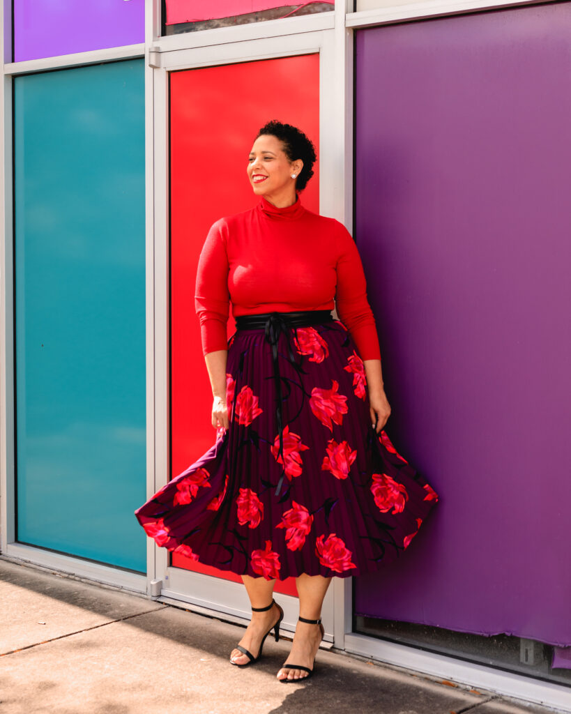 Tampa Influencer Farrah Estrella wearing a Turtleneck & Midi Skirt Look