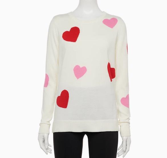 white hearts sweater