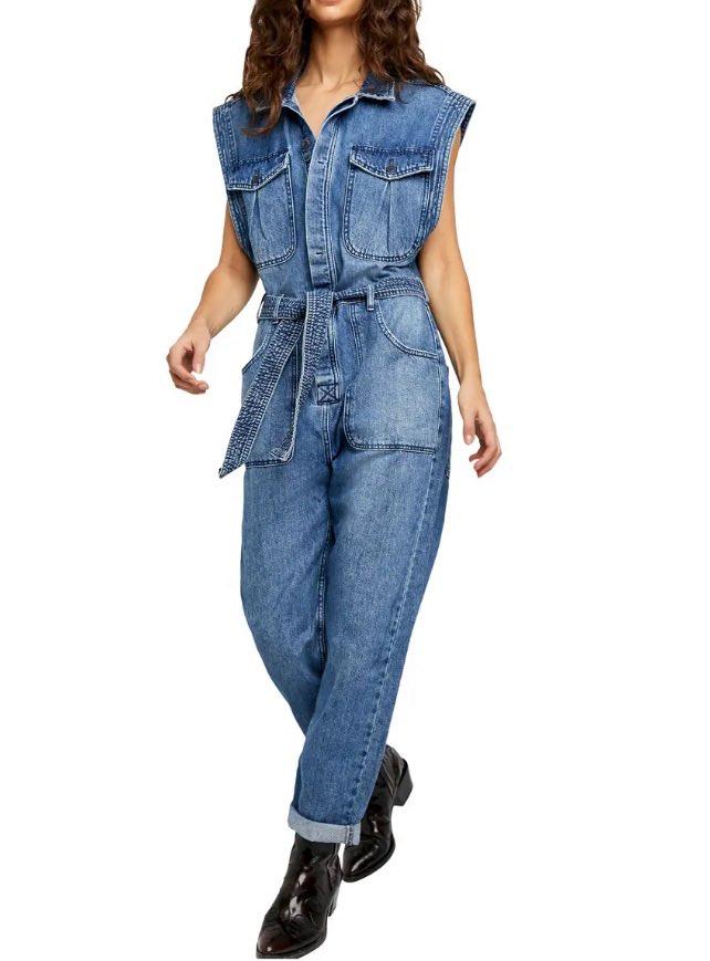 Short Sleeve Denim Jumpsuit