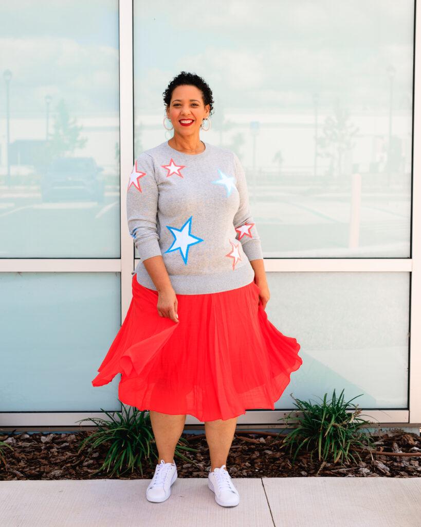 Star Print Sweater & Midi Skirt