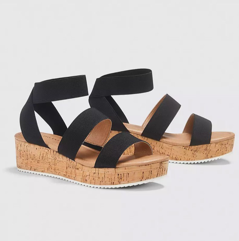 black sandals Dream Cloud Elastic-Strap Platform Wedge Sandal