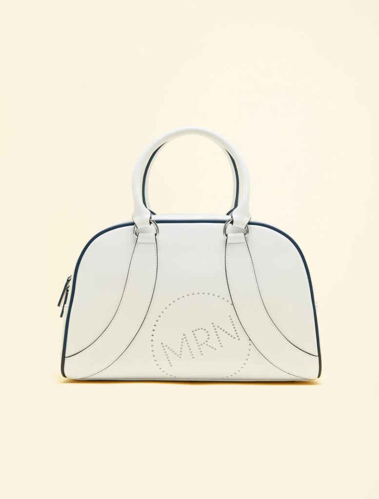 marina rinaldi signature logo white leather bag