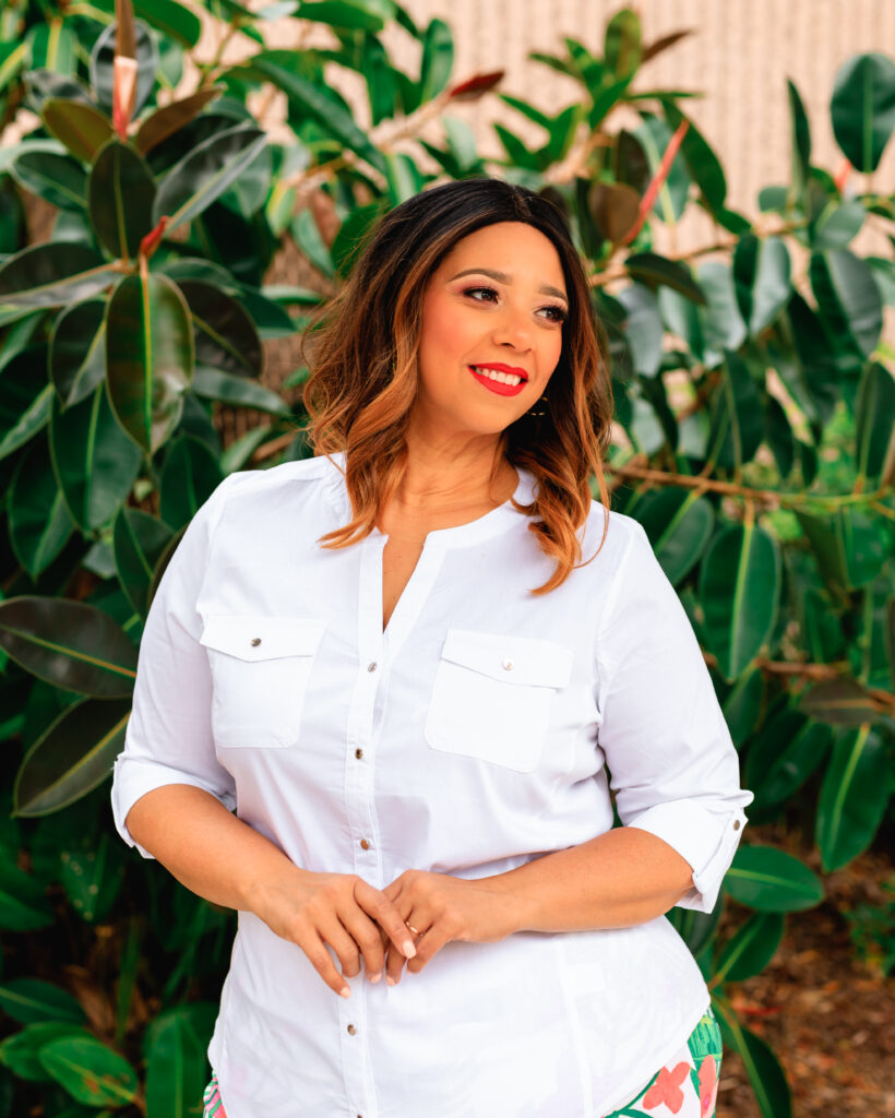 blogger farrah estrella in a white shirt