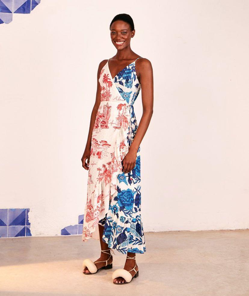 Dual Prints Maxi Wrap Dress