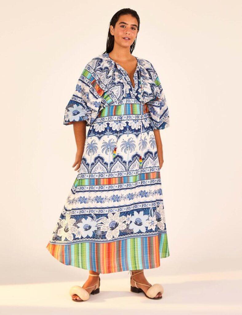 Blue Palms Midi Dress