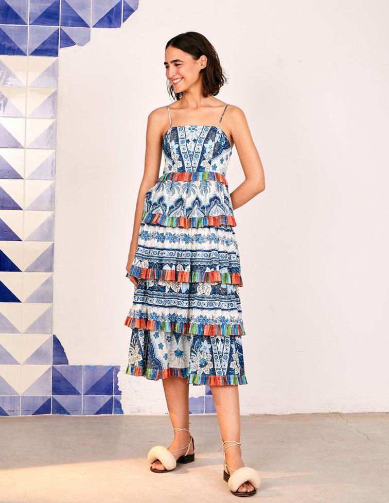 Blue Palms Frilled Skirt Midi Dress