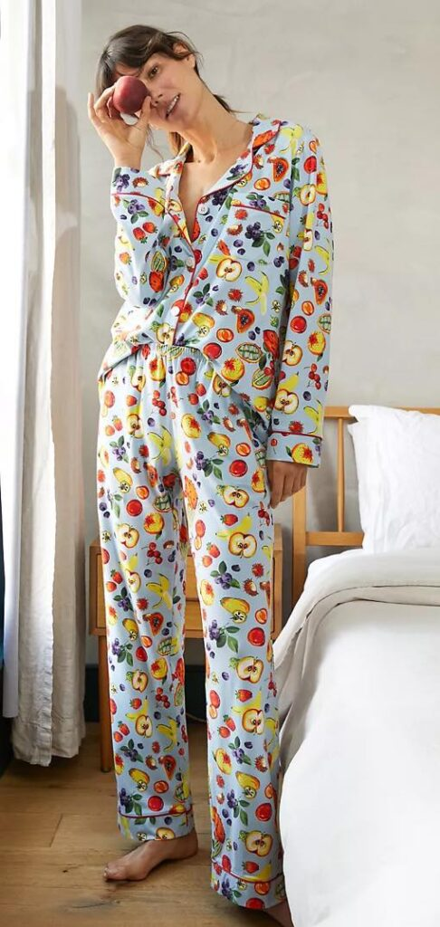 fruit print pajama set