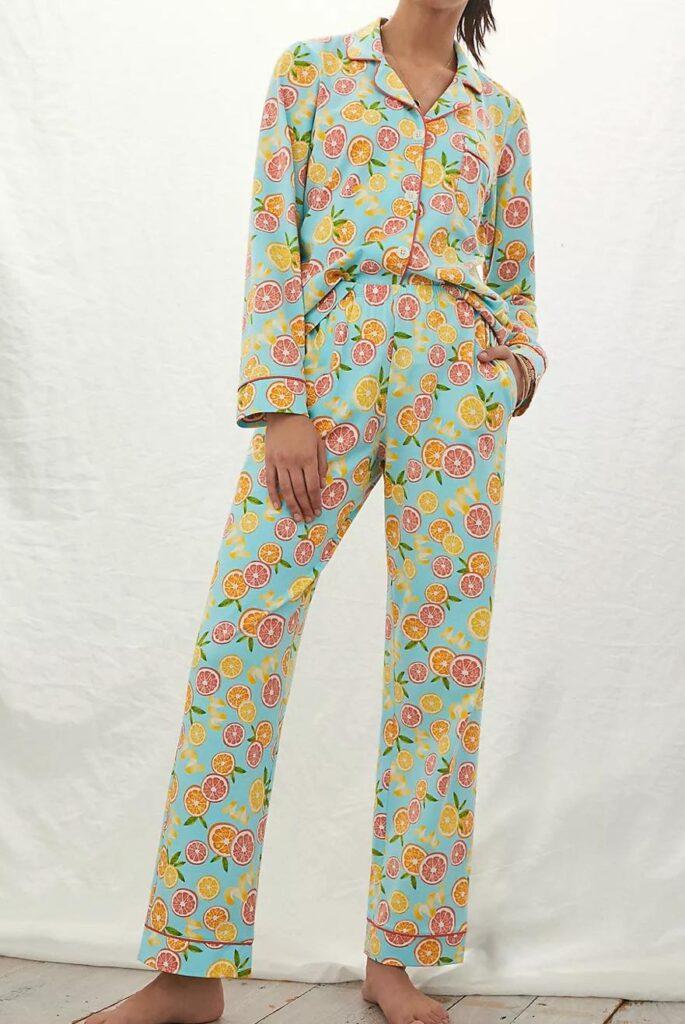 citrus print pajama set
