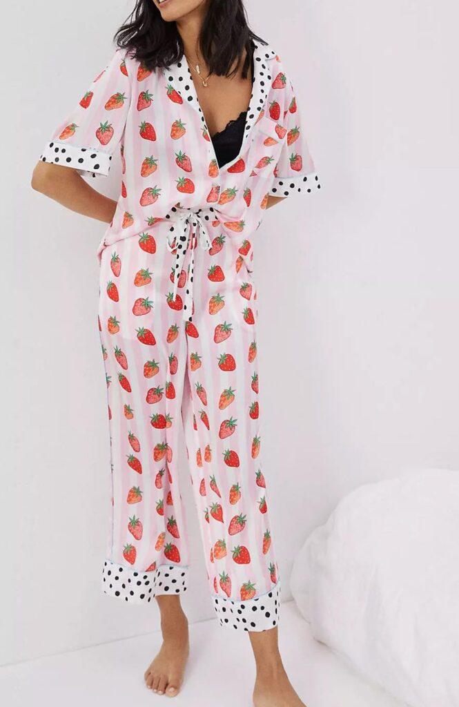 strawberry print pajama set