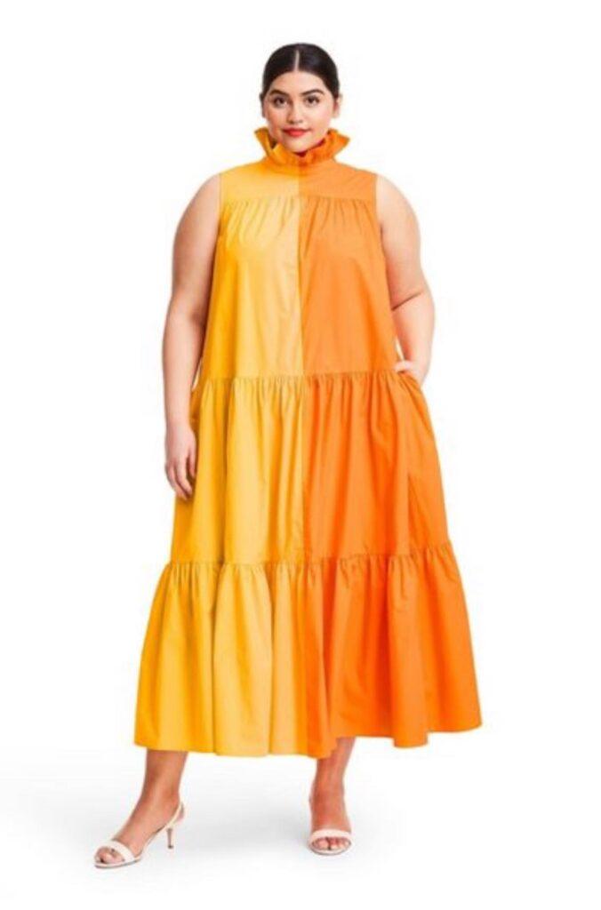 Sleeveless Ruffle Two-Tone Tiered Dress - Christopher John Rogers for Target Orange