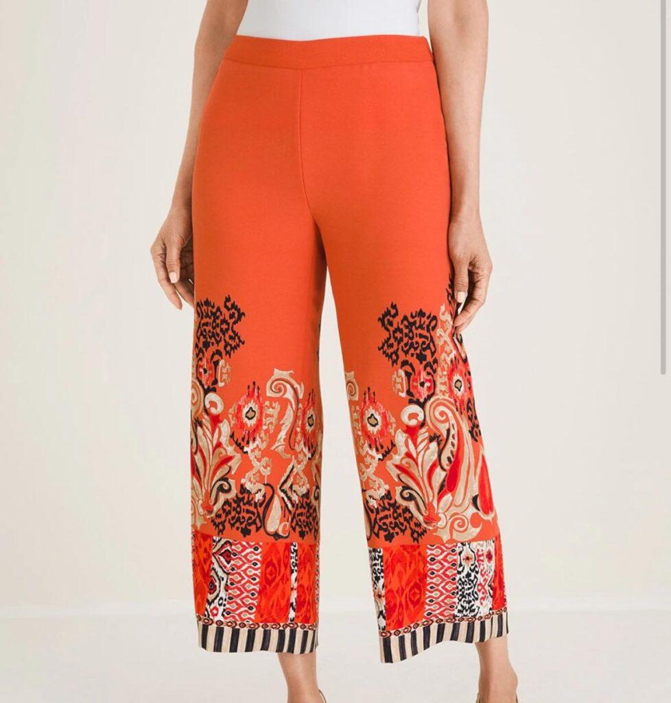 Orange MIXED-PRINT WIDE-LEG CROPS
