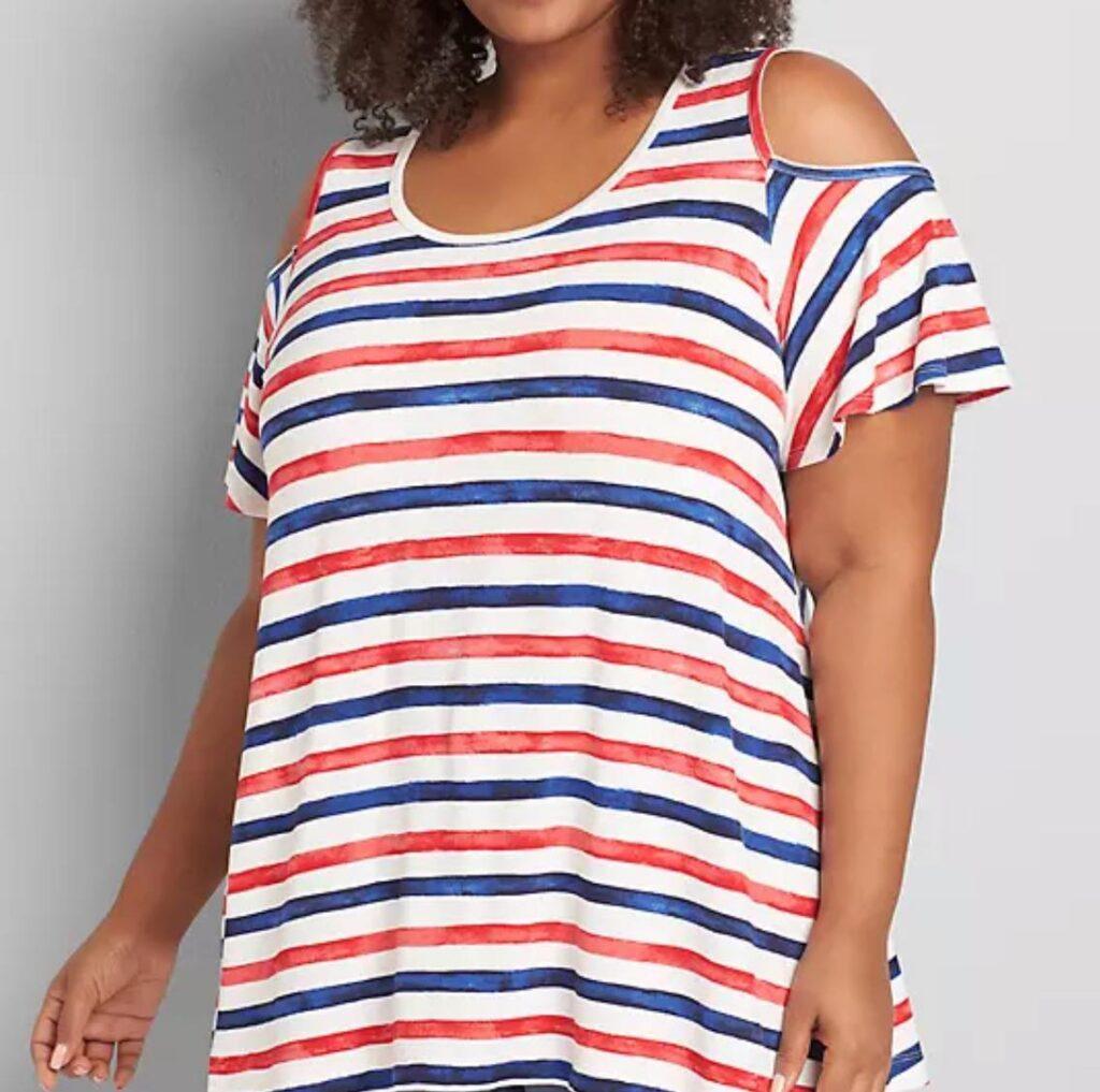 Cold-Shoulder Swing Tee patriotic stripe