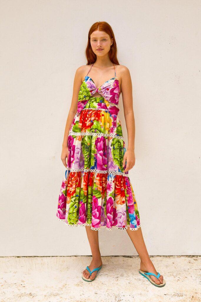 Rainbow Chita Flower Midi Dress