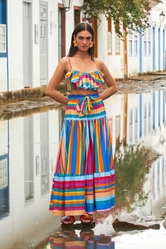 Striped Scarf Maxi Skirt