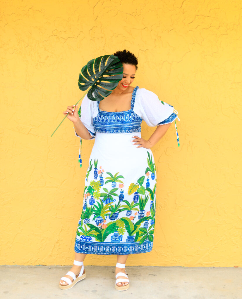 Blogger Farrah Estrella wearing a Farm Rio dress