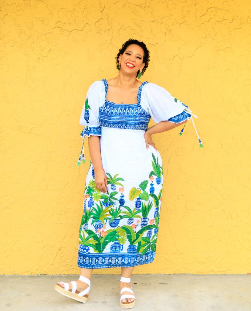 Tampa fashion blogger Farrah Estrella wearing a farm Rio dress