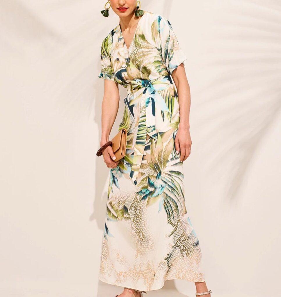 TROPICAL-PRINT KIMONO-STYLE MAXI DRESS