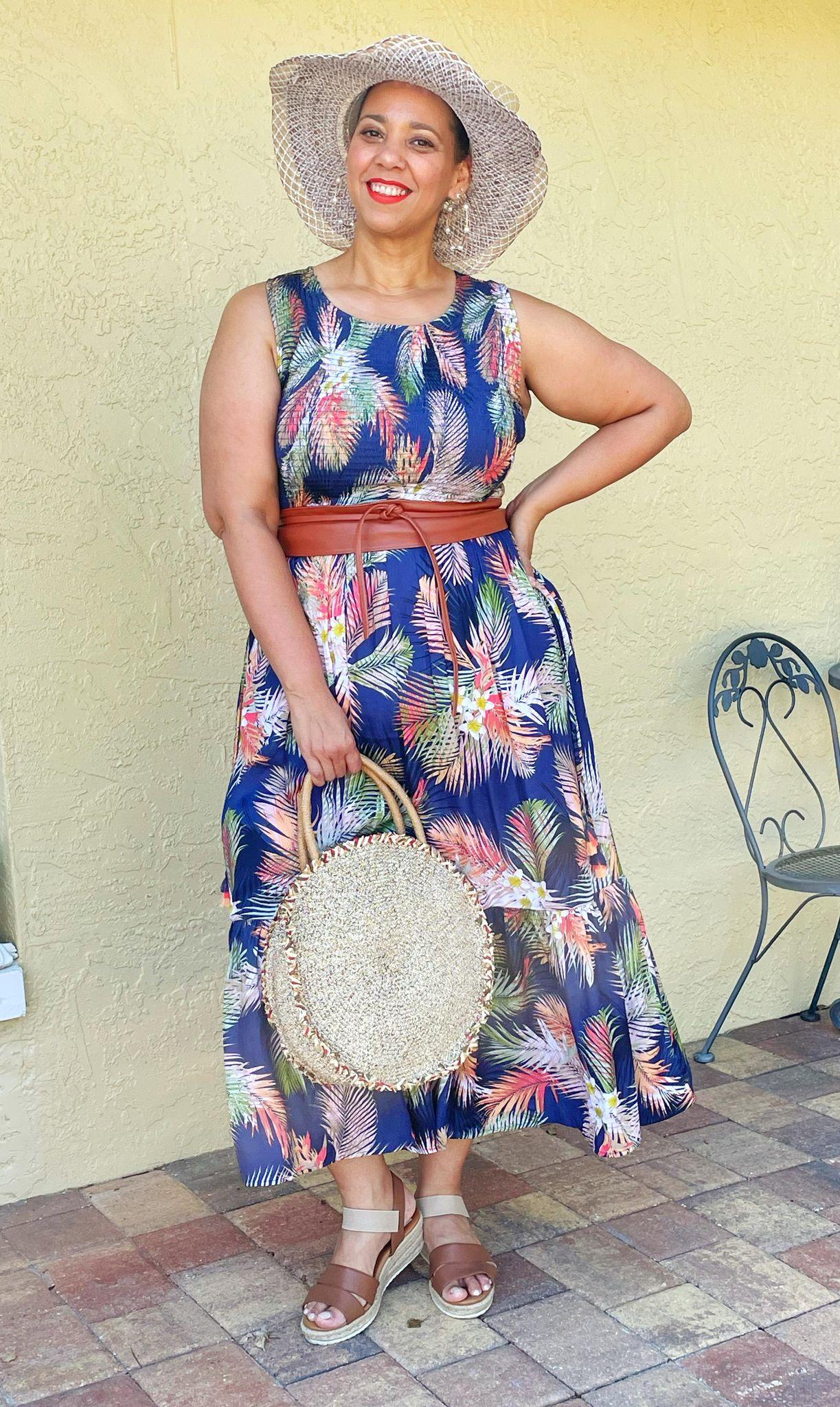 farrah estrella in a palm print dress