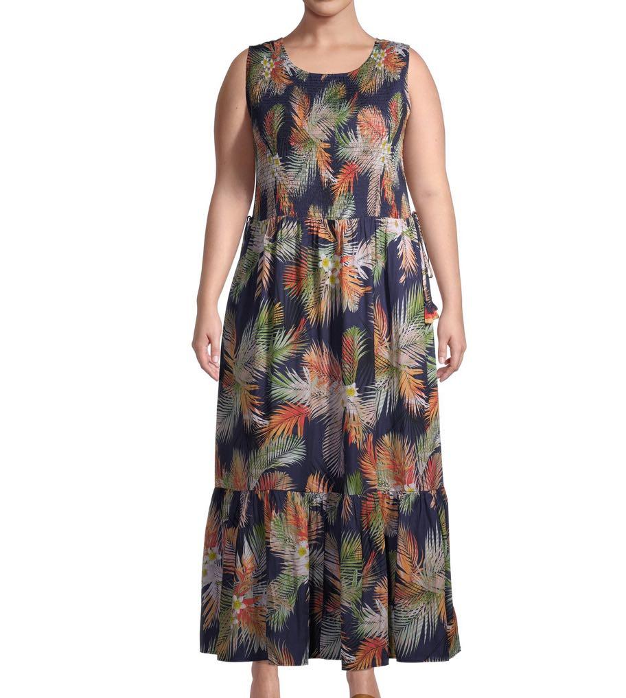 Terra & Sky Women's Plus Size Smocked Tank Dress