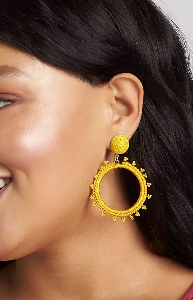 yellow Thread-Wrapped Hoop Earrings