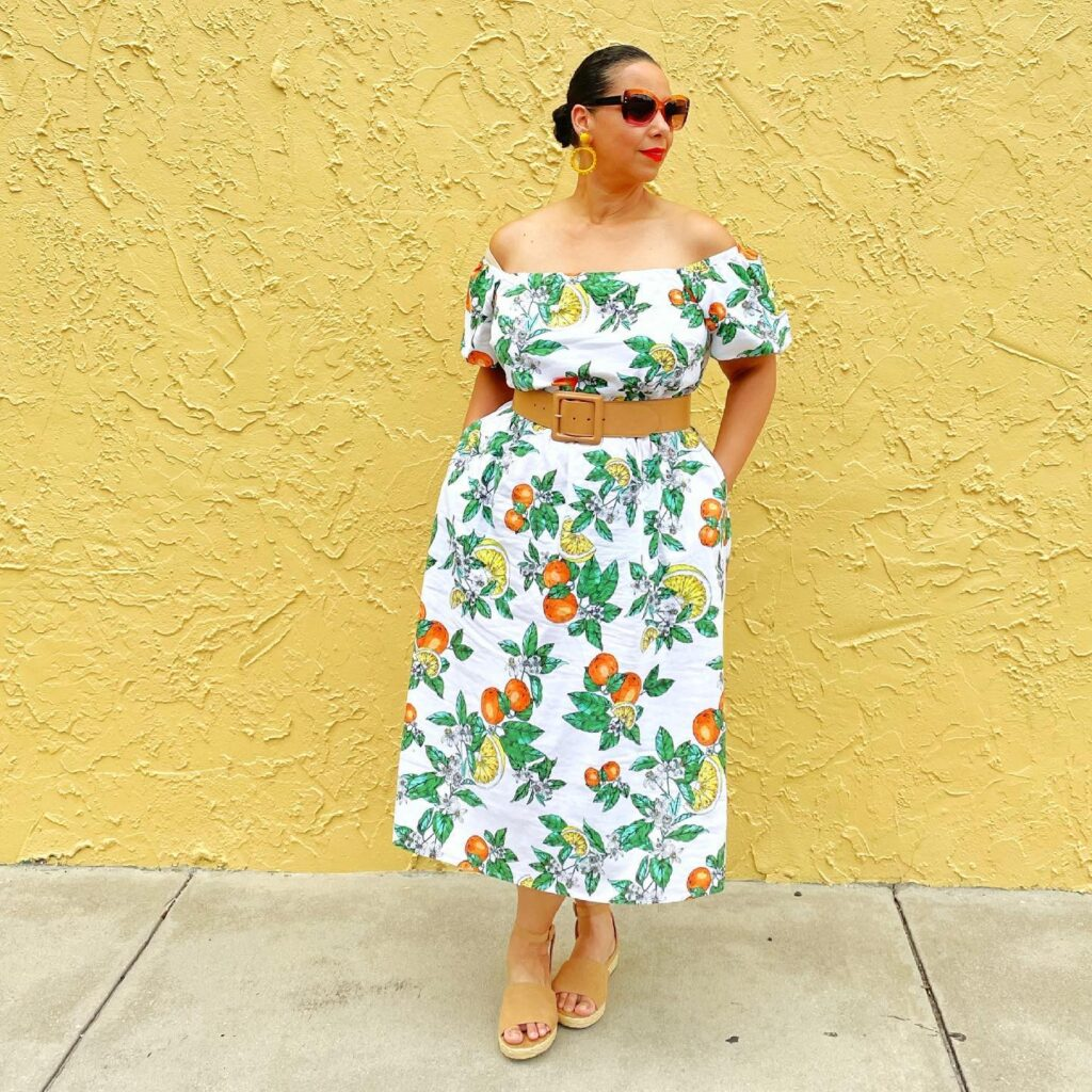 Lemon Print Off-The-Shoulder Puff-Sleeve Midi Dress