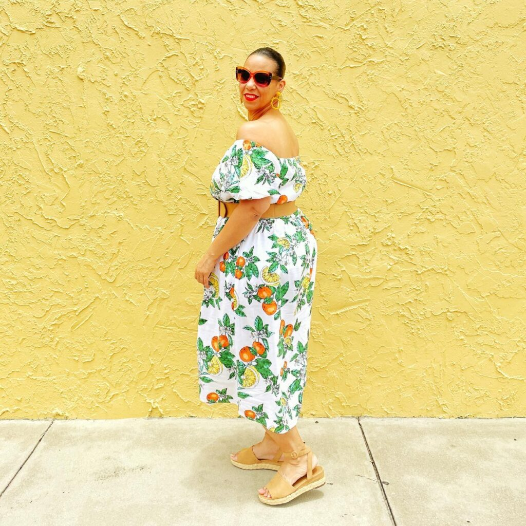 Citrus Print Off-The-Shoulder Puff-Sleeve Midi Dress