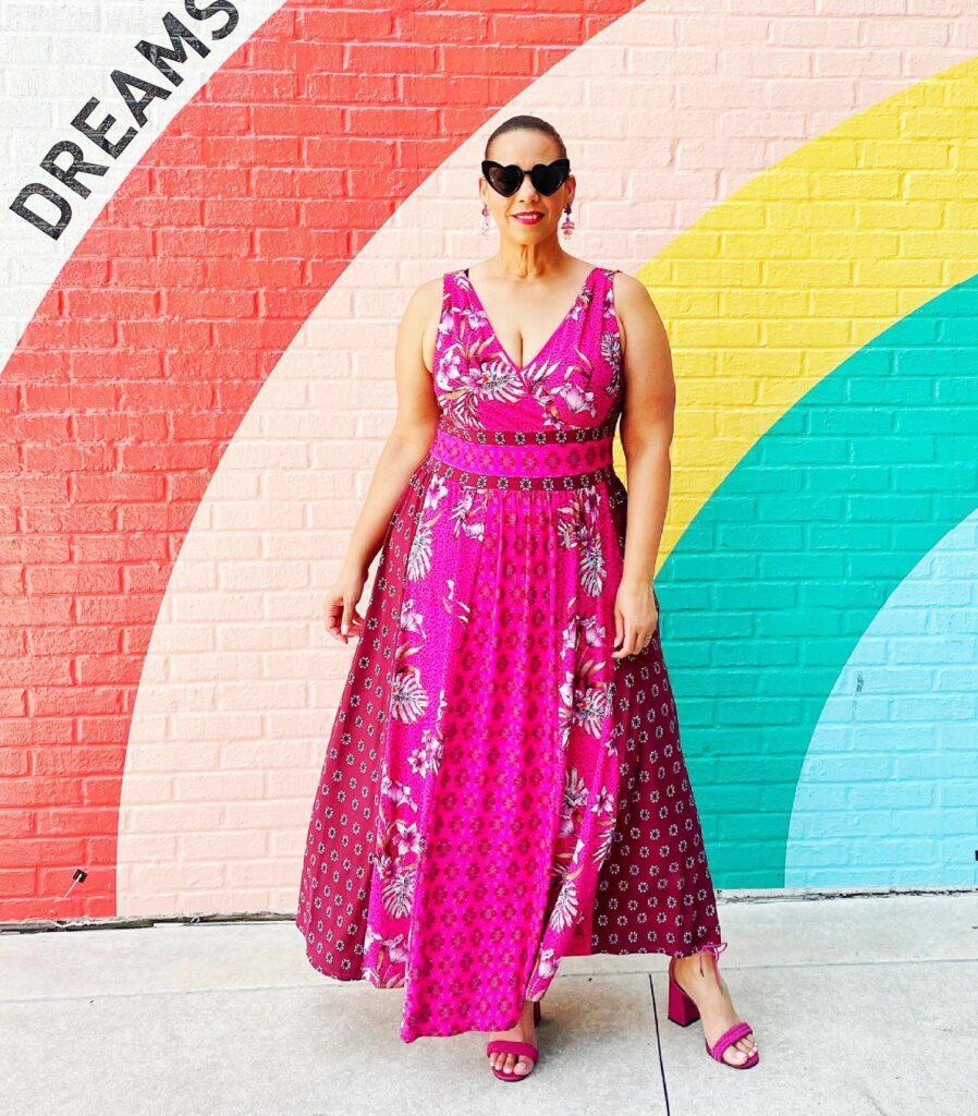 Mixed-Print Matte Jersey Maxi Dress