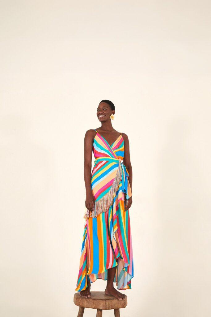 Striped Scarf Wrap Dress