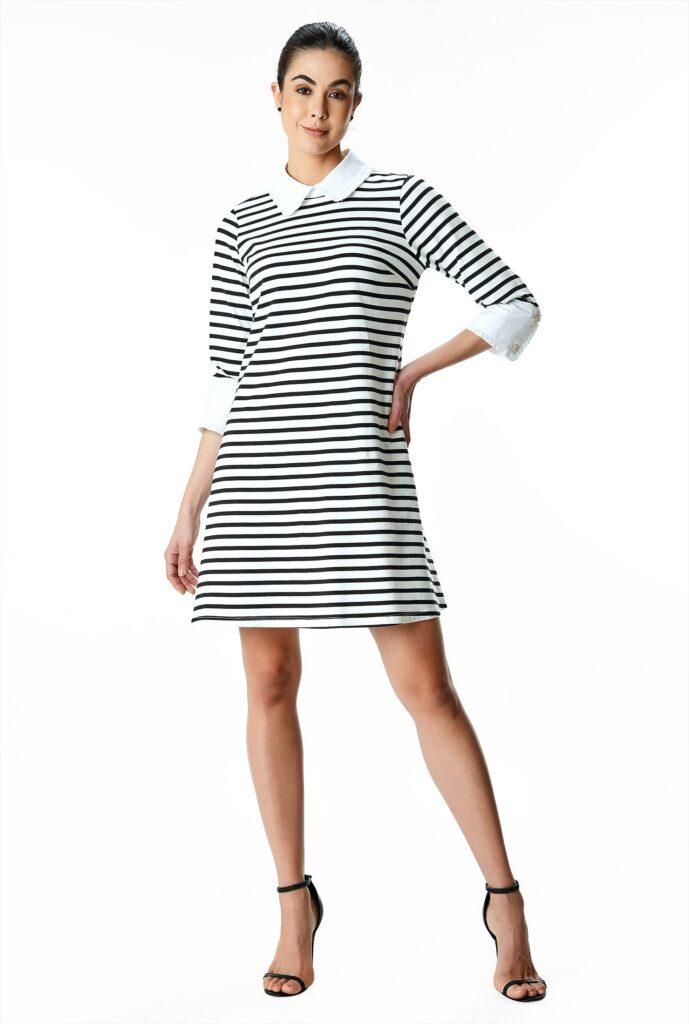 Contrast Collar Stripe Cotton Jersey Shift Dress