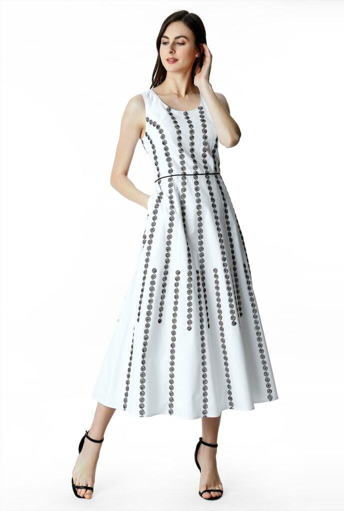 Geo Stripe Embroidery Seamed Cotton Poplin Dress