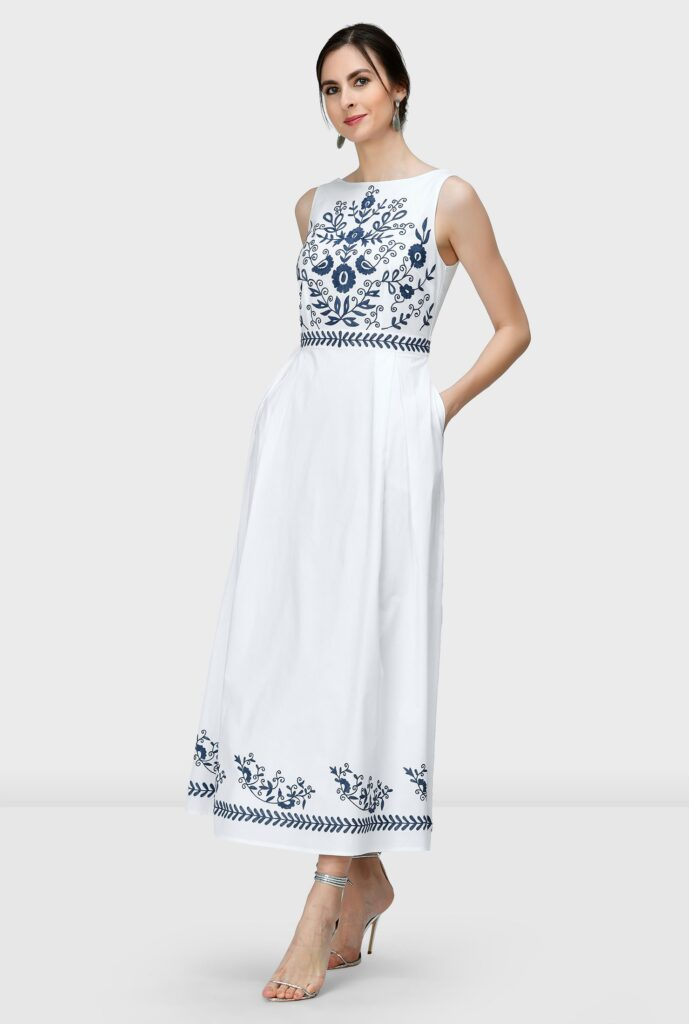 Floral Vine Embroidery Cotton Poplin Maxi Dress