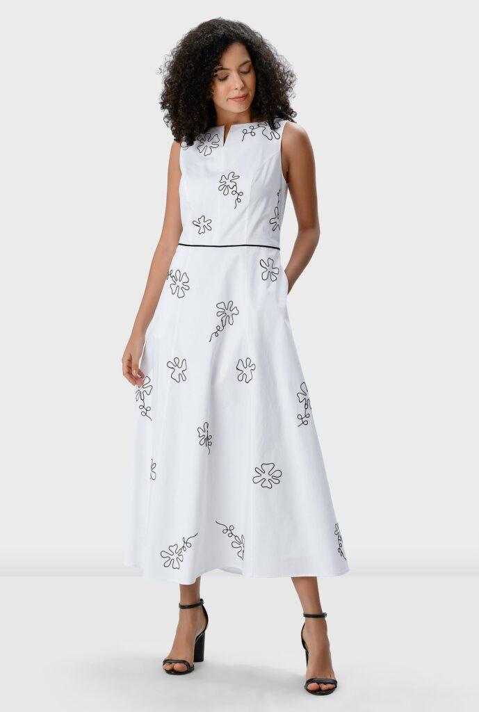 Floral Embroidery Cotton Poplin Dress